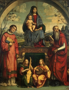 Madonna and Child with St Lawrence and St Jerome and Two Angels Making Music