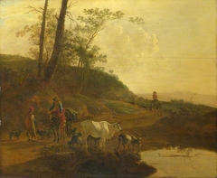 Men with an Ox and Cattle by a Pool