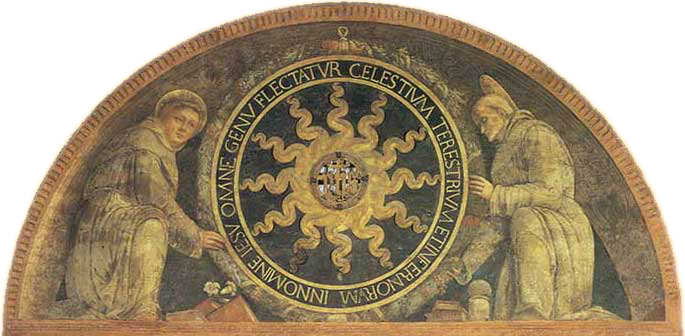 Monogram of Christ between two saints