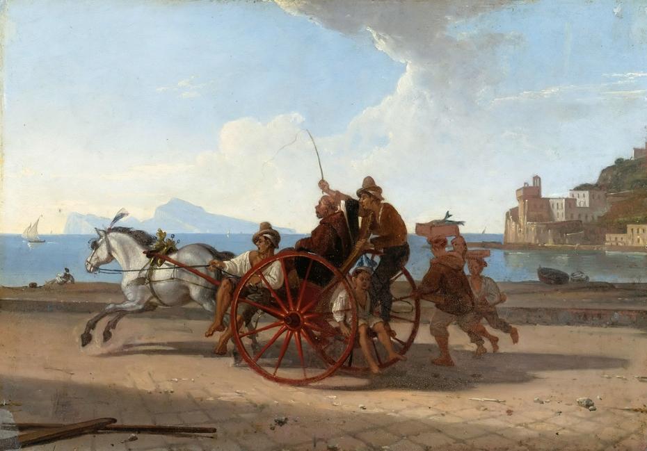 Neapolitanische Carrete mit Mönch