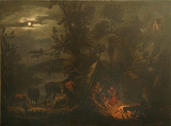 Night Scene with Figures grouped around a Fire
