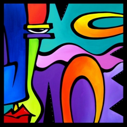 Obstacles - Original Abstract painting Modern pop Art Contemporary large Portrait cubist colorful FACE by Fidostudio