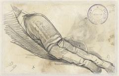 Onderlichaam van liggende vrouw met hoge laarzen