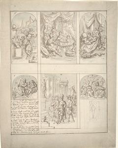 Ontwerp voor een kamerbeschildering met scènes uit het leven van Aeneas