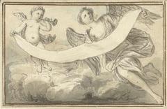 Ontwerp voor vignet met zwevende Faam en engel met banderol
