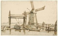 Overhaal en een molen buiten Amsterdam