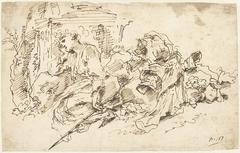 Peinzende Circe, zittend naast een monument