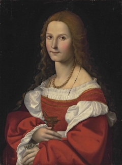 Portrait of a lady as Mary Magdalene, half-length, in a red dress and pearl necklace