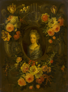 Portrait of a Lady Encircled by a Wreath of Flowers