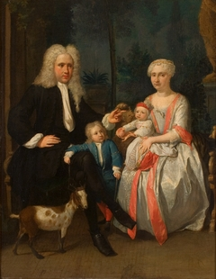Portret van een echtpaar en twee kinderen