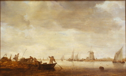 River Landscape with Fishermen in Two Boats