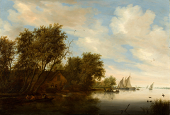 River View with a Man Hunting Ducks