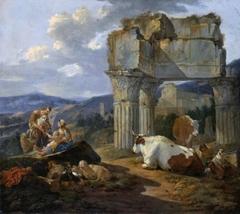 Roman Shepherd's Family with their Flock