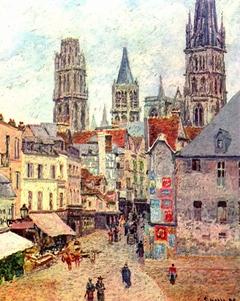 Rue de l'Épicerie in Rouen, Morning, Rainy Weather
