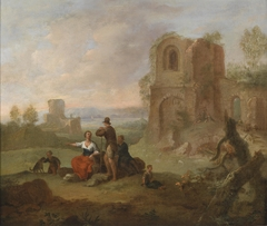 Ruin Landscape with Resting Travellers
