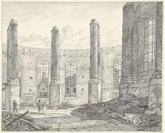 Ruïne van de op 18 september 1822 verbrande Nieuwe Luthersche Kerk te Amsterdam, van de buitendeur naar binnen te zien