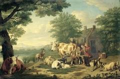 Rustic Scene with Woman Milking