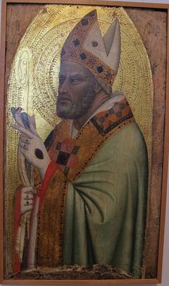 Santo vescovo con cardellino