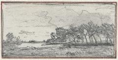 Schets van een landschap met bossage