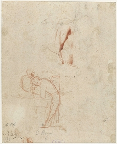 Schetsen van twee staande figuren en een draperiestudie