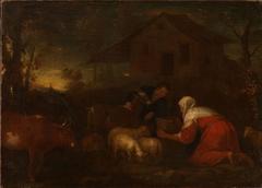 Shepherds watering their Cattle