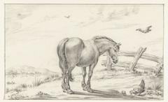 Staand paard bij kip met kuikens