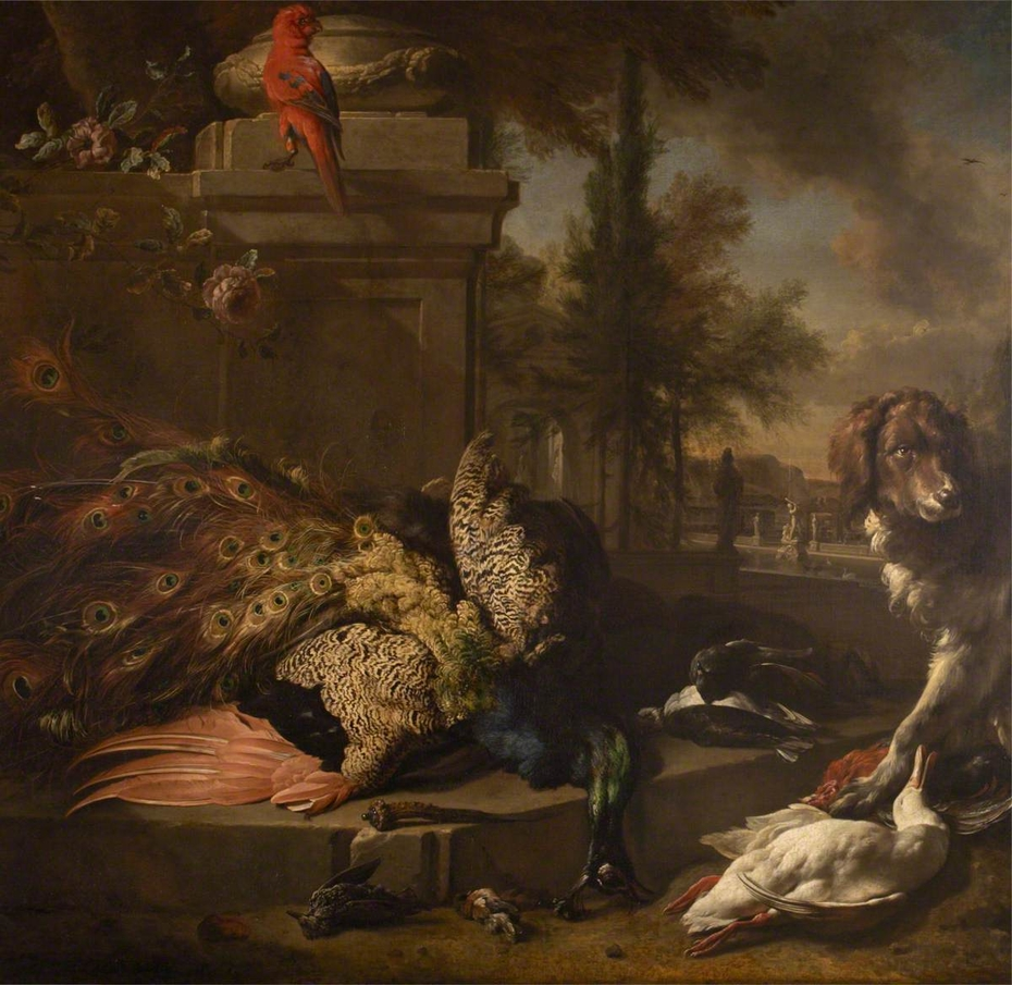 Still Life of Dead Poultry, a Parrot and a Spaniel in a Park