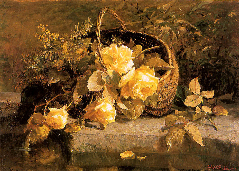 Still life of flowers in a basket by water's edge