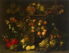 Still Life with Flowers, Fruit and Parrot