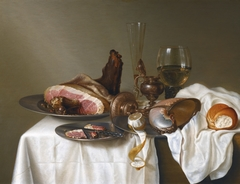 Still Life with Ham and Nautilus Cup