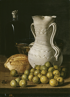 Still Life with Small Pears Bread Flask Bowl and Dry Leaves