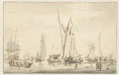 Strandgezicht met afgemeerde schepen