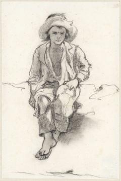 Studie van een zittende jongen, van voren