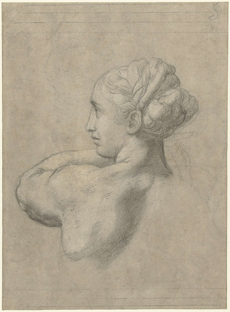 Study of a Head and Left Shoulder of a Woman