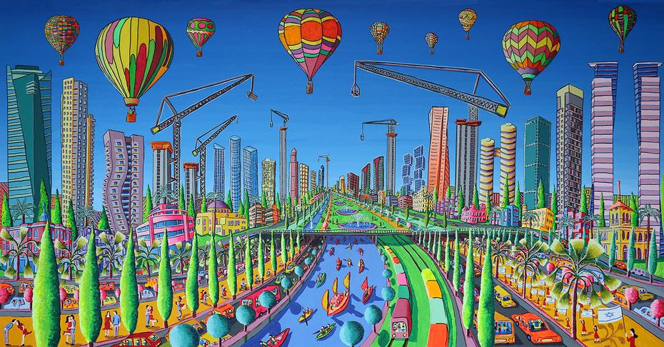 tel aviv naive paintings raphael perez israeli artist urban israeli landscape painting