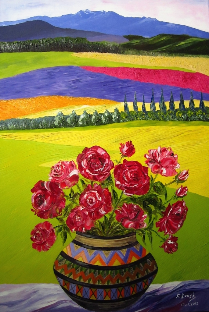 The Bright Landscape and Vase with Roses.