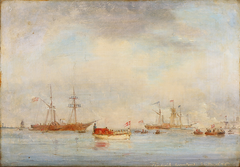 The Danish Royal Family are rowed ashore on October 8, 1846.