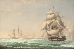 "The United States Frigate ""President"" Engaging the British Squadron, 1815"