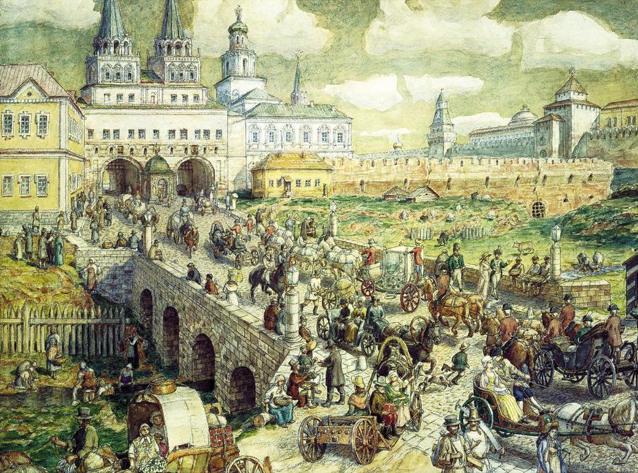 Traffic on the Resurrection bridge in the 17th century