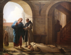 Trappist monks welcoming a stranger by Jules-Joseph Dauban