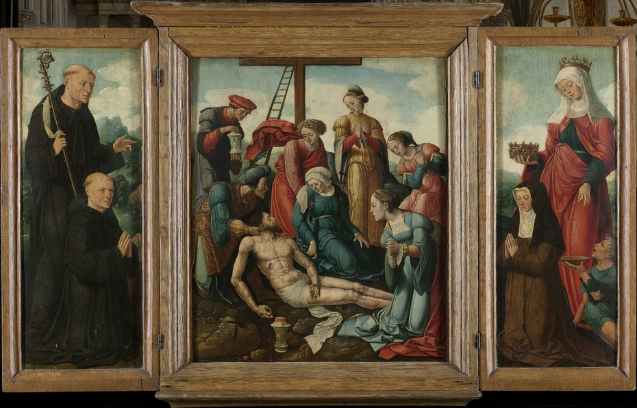 Triptych with the Lamentation of Christ (center), flanked by the male Donor with Saint Benedict (left, inner wing) and female Donor with Saint Elizabeth of Thuringia (right, inner wing)