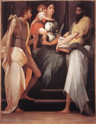 Madonna Enthroned between Two Saints