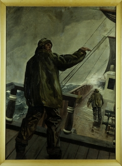 Untitled [sailor on a ship deck in a storm)