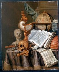 Vanitas with Books, Instruments, and an Astronomical Globe on a table