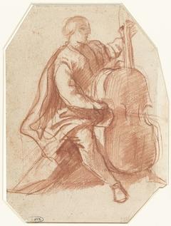 Viola da gambaspeler, driekwart van opzij