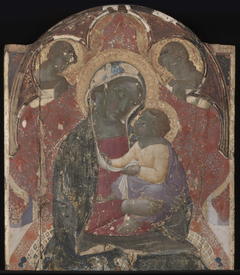 Virgin and Child Enthroned with TwoAngel