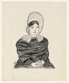 Vrouw met kapje op het hoofd