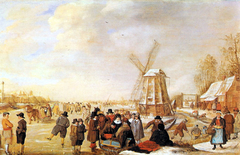 Winter Landscape with Skaters and Sledges