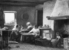 Women Working in the Kitchen of a Farmhouse near Olevano, Italy
