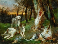 Wooded Landscape with Dogs and Dead Game